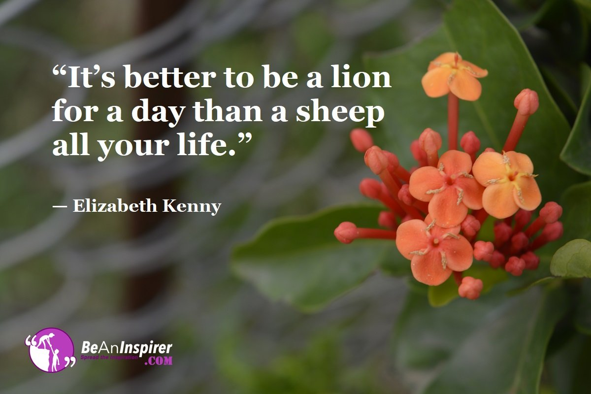 Its-better-to-be-a-lion-for-a-day-than-a-sheep-all-your-life-Elizabeth-Kenny-Top-100-Life-Quotes-Be-An-Inspirer
