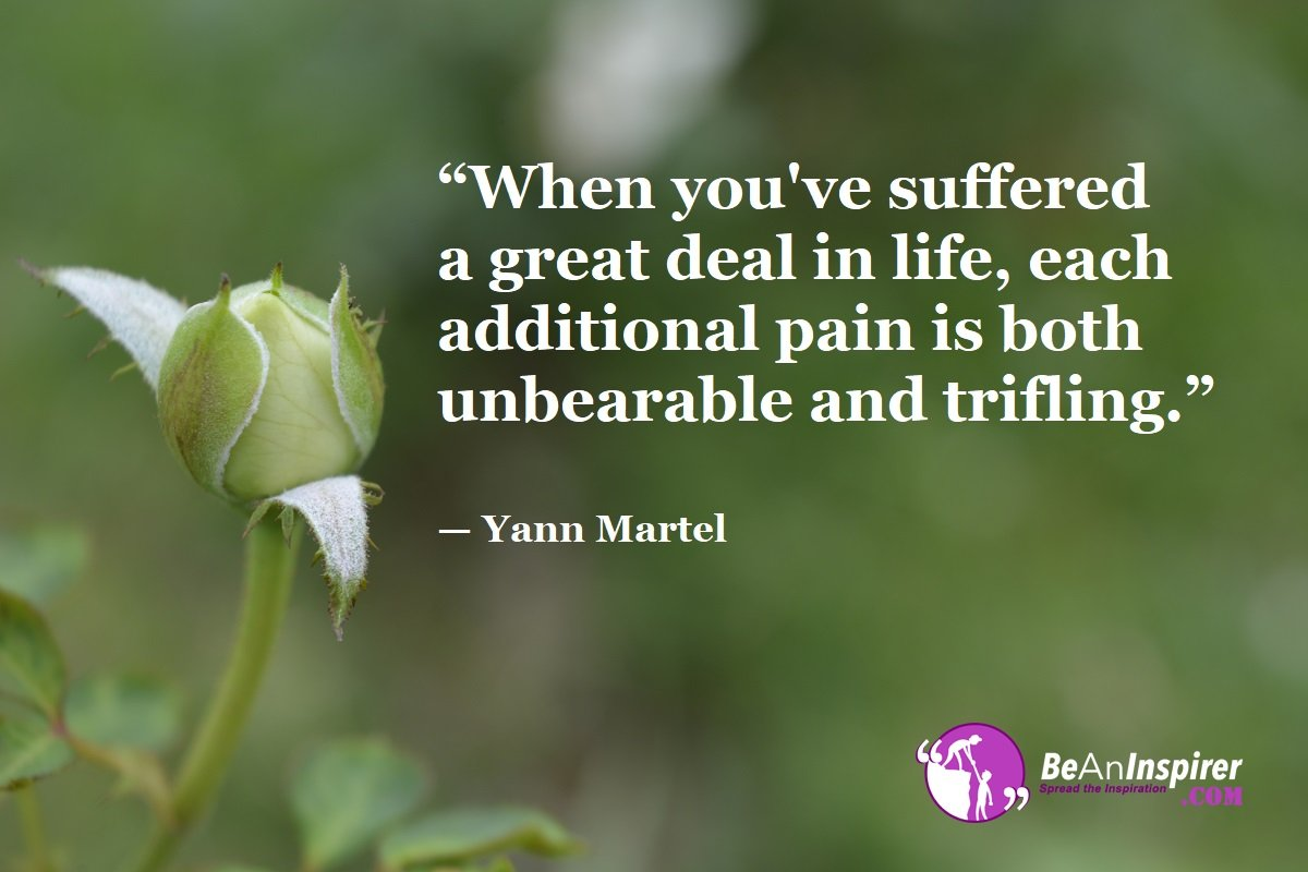 When-youve-suffered-a-great-deal-in-life-each-additional-pain-is-both-unbearable-and-trifling-Yann-Martel-Top-100-Life-Quotes-Be-An-Inspirer